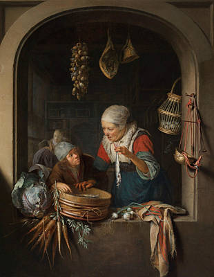 Painting - Herring Seller With Boy by Gerrit Dou