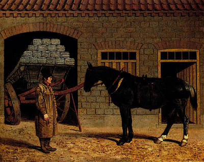 Horse And Cart Digital Art - Herring Sr John Frederick A Cart Horse And Driver Outside A Stable by John Frederick Herring Snr