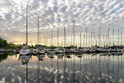 Photograph - Herringbone Sky Patterns With Yachts And Boats  by Georgia Mizuleva
