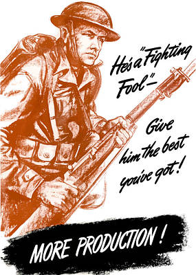 American Soldier Painting - He's A Fighting Fool - More Production by War Is Hell Store