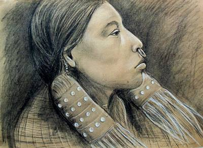 Drawing - Hesquiat Maiden by Linda Nielsen
