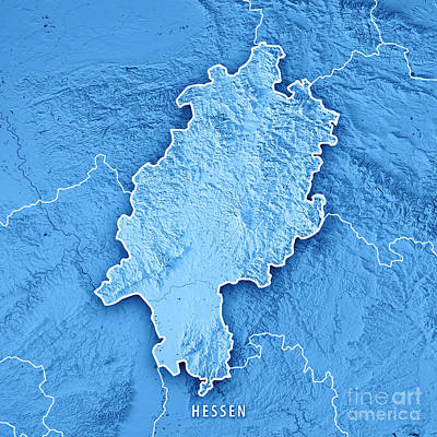 Europe Digital Art - Hessen Federal State Germany 3d Render Topographic Map Blue Bord by Frank Ramspott