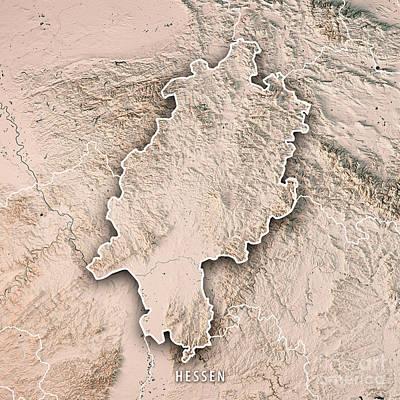 Digital Art - Hessen Federal State Germany 3d Render Topographic Map Neutral B by Frank Ramspott