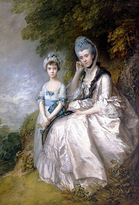 Hester Countess Of Sussex And Her Daughter Lady Barbara Yelverton  Art Print by Thomas Gainsborough