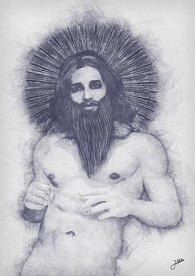 Male Nude Drawing Digital Art - Heterodox Mysticism by Joaquin Abella