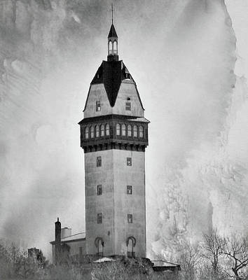 Digital Art - Heublein Tower Bw by Charles HALL
