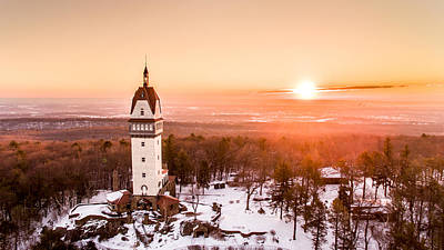 Sunrise Photograph - Heublein Tower In Simsbury Connecticut by Petr Hejl