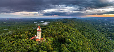 Photograph - Heublein Tower In Simsbury Ct, Stormy Sunset Aerial Panorama by Petr Hejl
