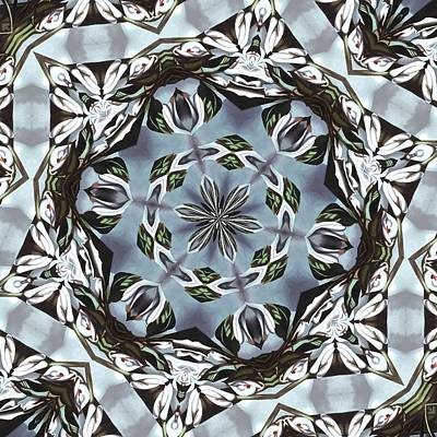Digital Art - Hexagon Of Jungle Leaves And Tropical Flowers by Tracey Harrington-Simpson