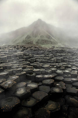 Photograph - Hexagon Stones And A Mountain In The Morning Fog by Jaroslaw Blaminsky
