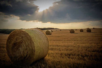 Print featuring the photograph Hey Bales And Sun Rays by David Dehner