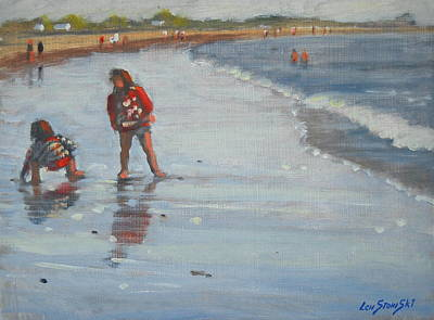 Little Girl On Beach Painting - Hey  What Cha Got by Len Stomski