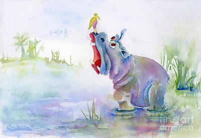 Hippopotamus Painting - Hey Whats The Big Idea by Amy Kirkpatrick