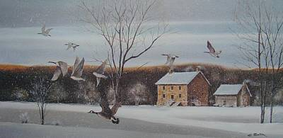 Snow Geese Painting - Hezakiah Alexander House  by Charles Roy Smith