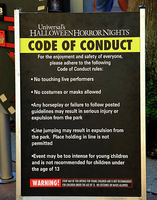 Photograph - Hhn 26 Code Of Conduct Sign by David Lee Thompson