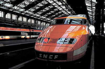 Photograph - High Speed Train In Paris by Carl Purcell