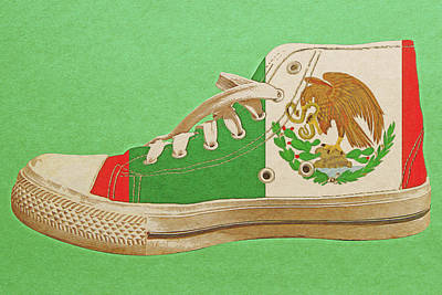 Digital Art - Hi Top With Mexican Flag by Anthony Murphy