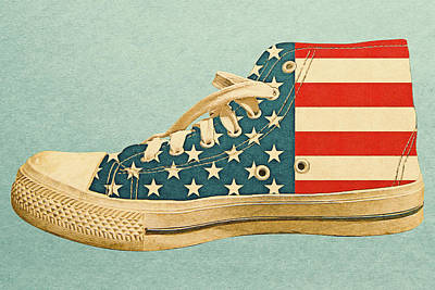 Digital Art - Hi Top With Usa Flag by Anthony Murphy