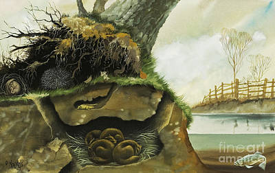 Tree Roots Painting - Hibernation by David Nockels