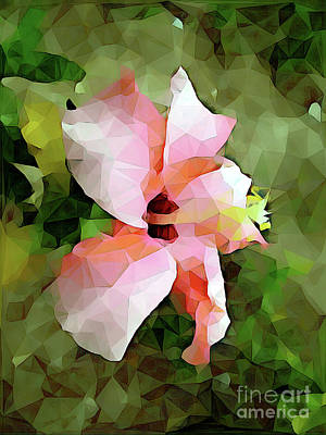 Digital Art - Hibiscus 05 ...13.29_2 Low Poly For Sale by S Art
