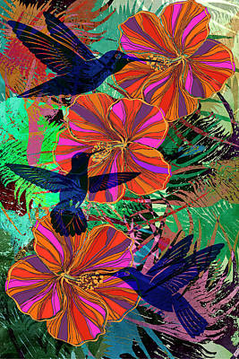 Digital Art - Hibiscus And Hummers by Sandra Selle Rodriguez