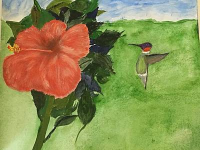 Painting - Hibiscus And Hummingbird by David Bartsch