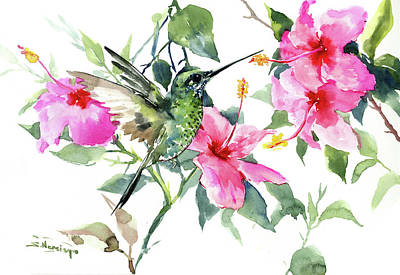 Painting - Hibiscus And Hummingbird by Suren Nersisyan