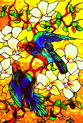 Glass Art - Hibiscus And Parrots Louis Comfort Tiffany by Peter Gumaer Ogden Ogden