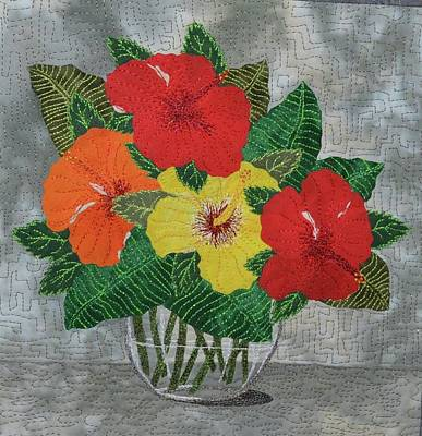 Wall Art - Tapestry - Textile - Hibiscus Bouquet by Pauline Barrett