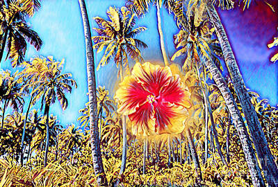 Digital Art - Hibiscus Flower And Palm Trees by Wernher Krutein