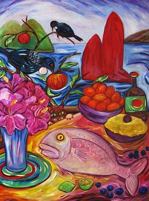 Painting - Hibiscus Flowers And Snapper Fish by Dianne Connolly