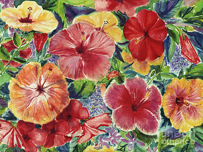 Multi Colored Painting - Hibiscus Impressions by Patti Bruce - Printscapes