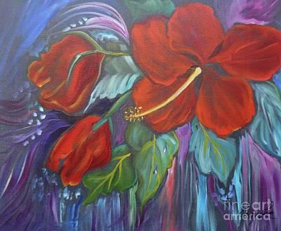 Hibiscus Whimsy Art Print
