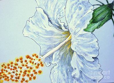 Painting - Hibiscus White And Yellow by Sheron Petrie