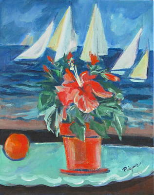 Hibiscus With An Orange And Sails For Breakfast Art Print by Betty Pieper