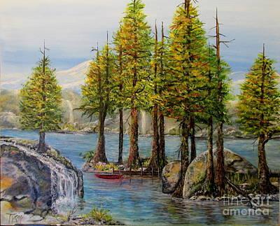 Canoe Waterfall Painting - Hidden Alpine Lake by John Garland Tyson