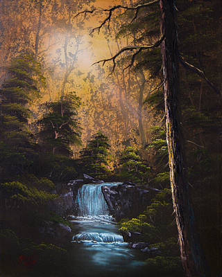 Wet On Wet Painting - Hidden Brook by C Steele