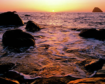Hidden Cove Sunset Redwood National Park Art Print