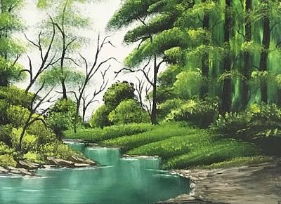 Wet-on-wet-technique Painting - Hidden Creek by Jonathan Colon