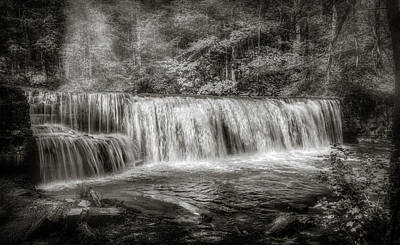 Photograph - Hidden Falls In Black And White by Rikk Flohr