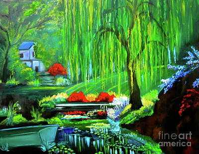 Painting - Hidden Home On Monet's Pond by Jenny Lee