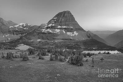 Photograph - Hidden Lake Hazy Sunset Summer 2017 Black And White by Adam Jewell