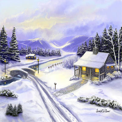 Snowscape Painting - Hidden Mountain Valley by Sena Wilson