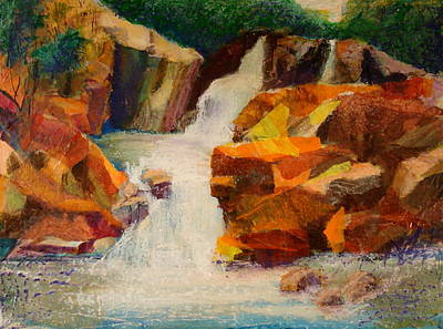 Pouring Mixed Media - Hidden Pond by Buff Holtman