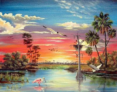 Spoonbill Mixed Media - Hidden Refuge Sunset by Riley Geddings