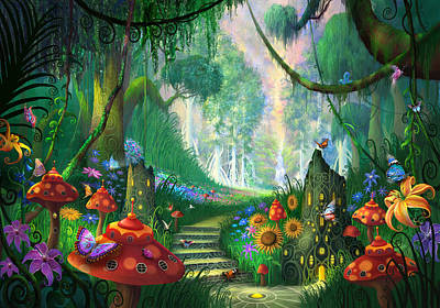Forest Painting - Hidden Treasure by Philip Straub