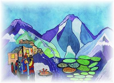 Mountins Painting - Hidden Valleys Of Tibet by Connie Valasco
