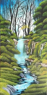 Wet-on-wet-technique Painting - Hidden Waterfall by Jonathan Colon