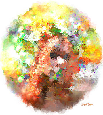 Abstractions Digital Art - Hidding Face - Da by Leonardo Digenio