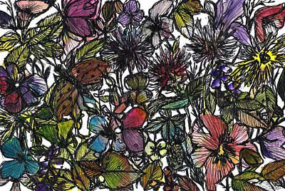 Hide And Seek In Wildflower Bushes Art Print by Garima Srivastava